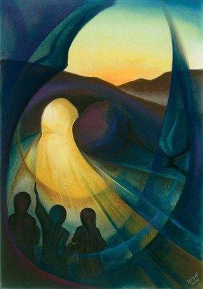 risen jesus and 3 women